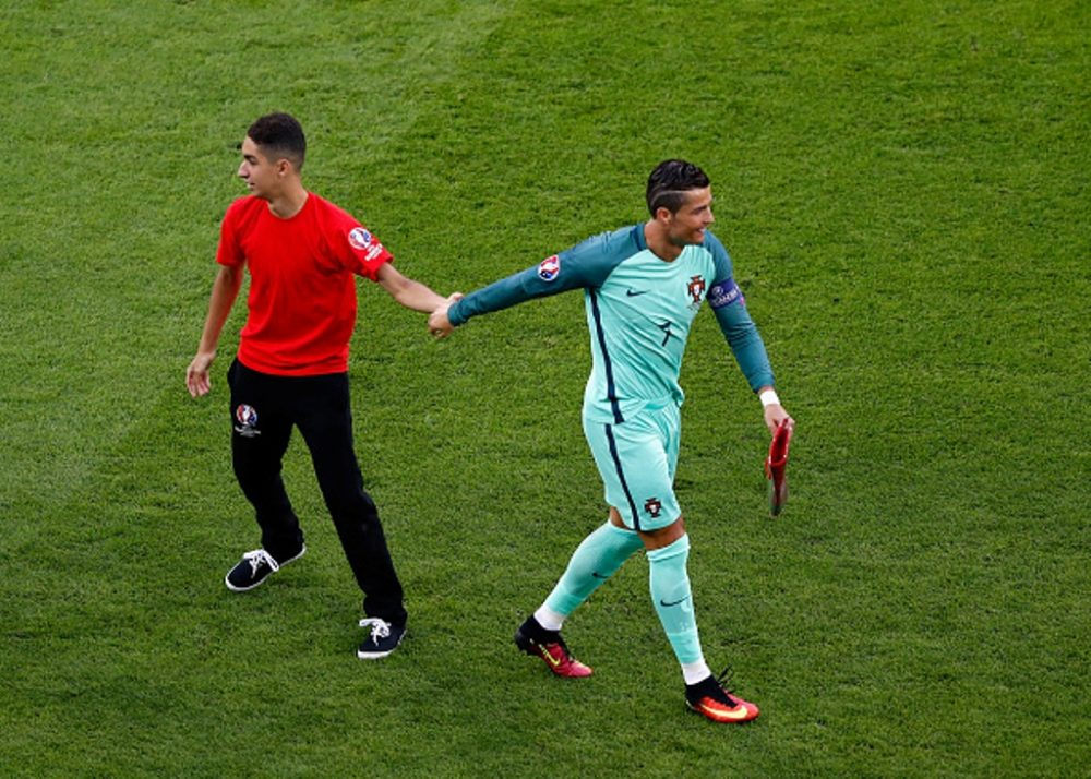 during the UEFA EURO 2016 semi final match between Portugal and Wales at Stade des Lumieres on July 6, 2016 in Lyon, France.