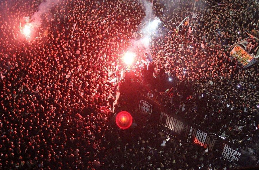Το party του ΠΑΟΚ στον Λευκό Πύργο από… πολύ ψηλά (video)