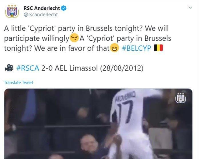 H Άντερλεχτ τρολάρει την Εθνική Κύπρου με… ΑΕΛ και είναι έτοιμη για πάρτι